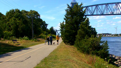Cape Cod Canal; family walking dogs Footage