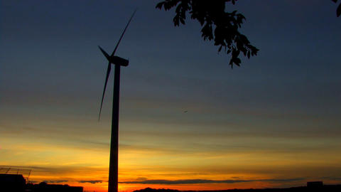 Wind Power Turbine at Sunset; 9 Footage