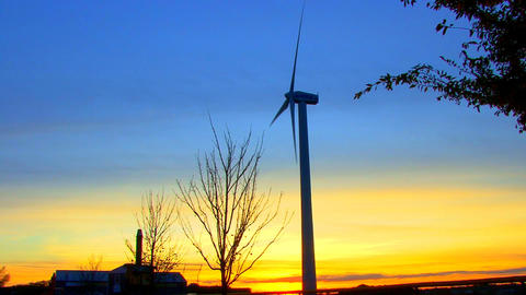 Wind Power Turbine at Sunset; 6 Footage