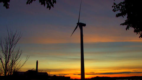 Wind Power Turbine at Sunset; 10 Footage