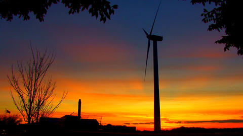 Wind Power Turbine at Sunset; 3 Footage