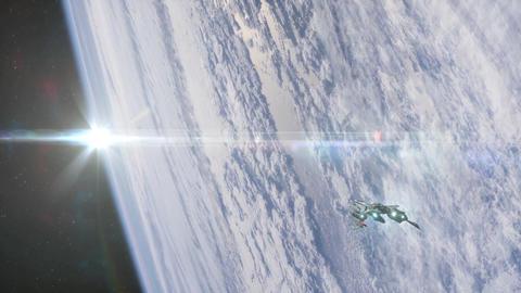 Ship In Orbit stock footage