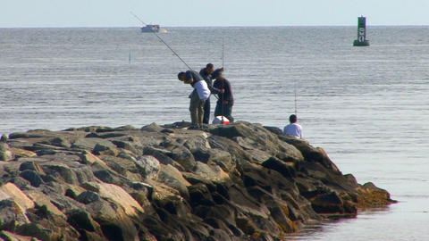 Young Asian Fishermen on Jetty; 2 Footage