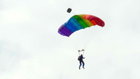 Paratrooper Aerobatics stock footage