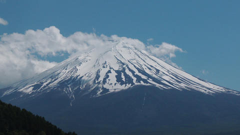 close up Mount Fuji, view from Lake Kawaguchiko, Japan Footage