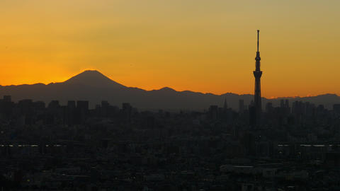 M't Fuji And Tokyo Sky Tree At Dusk stock footage