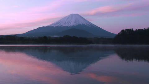 Mt Fuji Reflect Lake In The Early Morning stock footage
