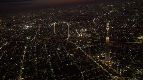 Tokyo Skytree light up aerial tokyo,Japan Footage