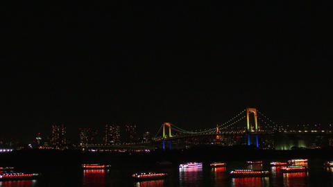 view of Tokyo Rainbow Bridge and cityscape Footage
