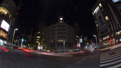 Ginza crossing light up time lapse Toyko,Japan Footage