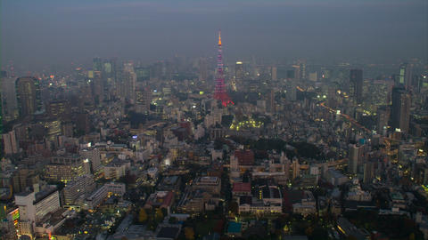 Tokyo Tower light up time lapse at cloudy day Toyko,Japan Footage