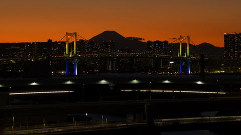 Mt'FUJI and Rainbow bridge time lapse at dusk Toyko,Japan Live Action