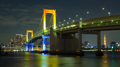 Rainbow bridge and Tokyo Tower light up time lapse tokyo japan Live Action