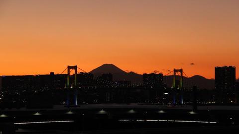 Mt'FUJI and Rainbow bridge at dusk Toyko,Japan Footage