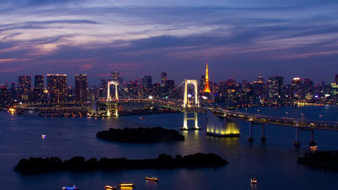 Close up Tokyo Tower and Rainbow Bridge at night time lapse Toyko,Japan Footage