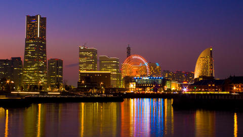 Close Up Timelapse View Of Yokohama At Twilight With Minatomirai stock footage
