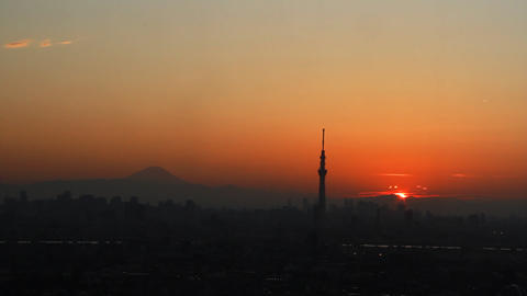 Mt'FUJI And Tokyo Buildings Time Lapse At Sunset Tokyo Japan stock footage