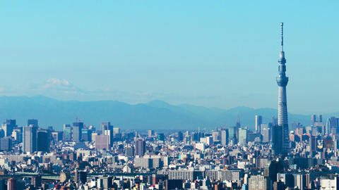 Timelapse view of Tokyo city with Tokyo Skytree and Mt Fuji Footage