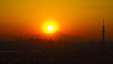 Tokyo Skytree and Mt'Fuji in the sunset time lapse Tokyo, Japan Footage
