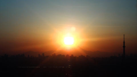 Tokyo Skytree and Mt'Fuji in the sunset Tokyo, Japan Footage