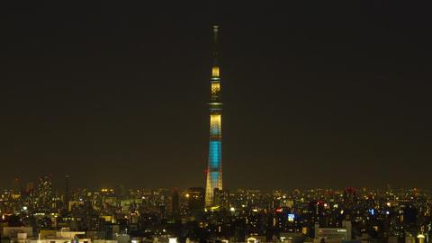 Tokyo Skytree Light up Tokyo, Japan Footage