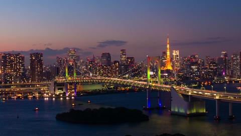 Tokyo Bay at Rainbow Bridge night view time lapse Tokyo, Japan Footage