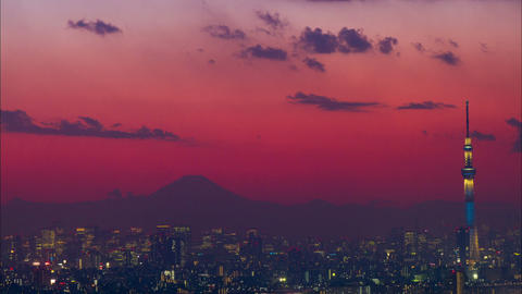 Mt'Fuji and Tokyo Skytree light up time lapse at dusk Tokyo, Japan Footage