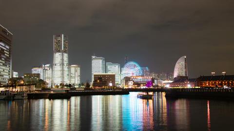 Yokohama City At Night Time Lapse stock footage