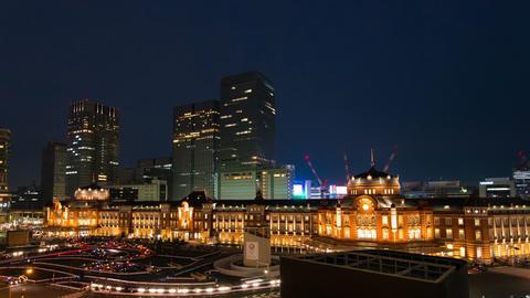Tokyo Station light up time lapse Tokyo, Japan ビデオ