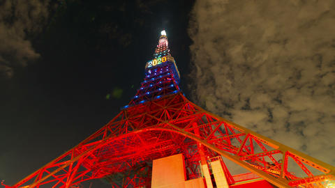 Tokyo Tower light up time lapse at night in Tokyo, Japan Live Action