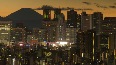 M'tfuji and Tokyo Metropolitan Government Building, Nishi-Shinjuku, Tokyo, Japan Footage
