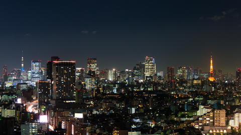 Tokyo Tower and Tokyo Skytree from Tokyo, Japan Live Action