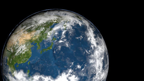 Zoom in Japan Earth Rotating, The World Spinning Live Action