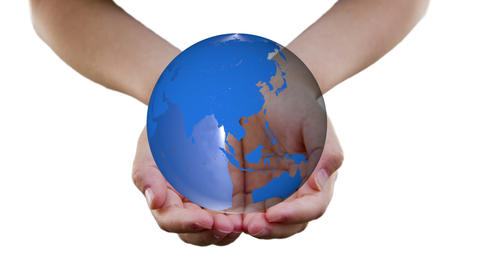 Earth In Girl's Hands stock footage