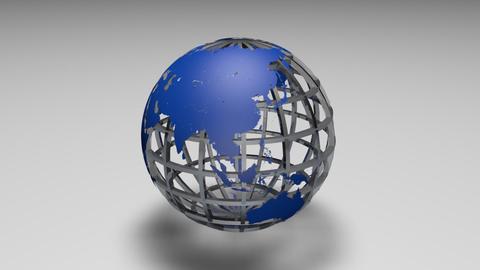 Rotating transparent glass mesh blue Earth globe loop ビデオ