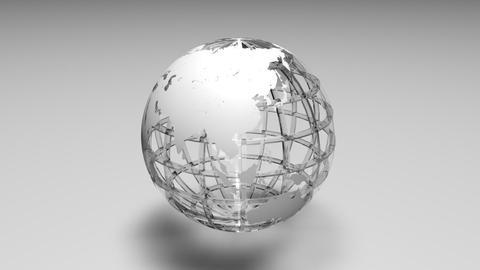 Rotating transparent glass mesh white Earth globe loop ビデオ