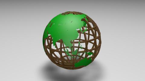 Rotating transparent glass mesh light green Earth globe loop ビデオ