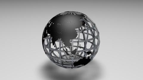 Rotating transparent glass mesh black Earth globe loop ビデオ
