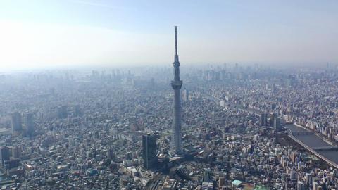 Tokyo Skytree Aerial Shoot in Tokyo,Japan Footage