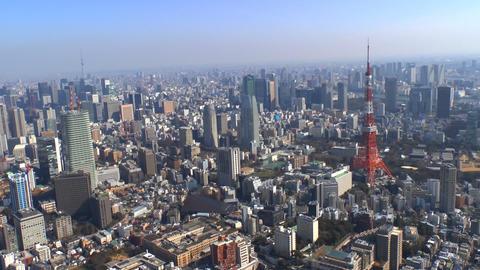 Tokyo Tower and Tokyo Skytree Aerial Shoot in Tokyo, Japan Footage
