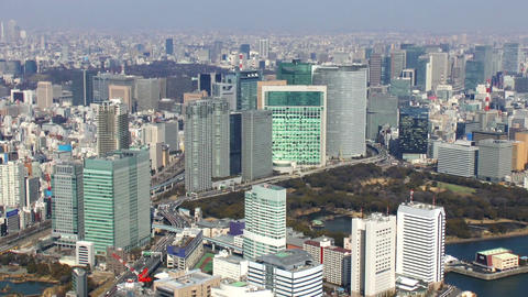 Close upTokyo Shiodome area Aerial Shoot in Tokyo, Japan ビデオ