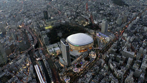 Tokyo Dome Light Up Aerial Shoot In Tokyo,Japan stock footage