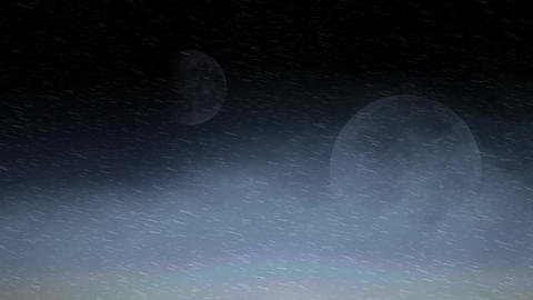two moon in the fog and snow Animation