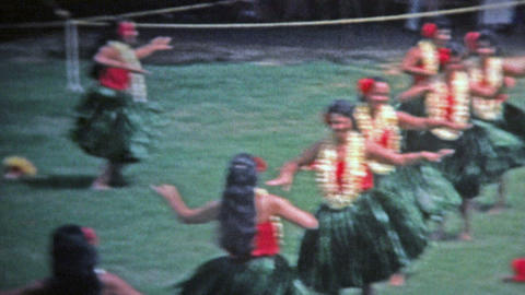 1976: Hawaii Sign Grass Skirt Hula Dancers Show Off To Crowds stock footage