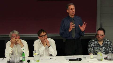 Peter Tatchell Talking About National Debt And Economic Failure stock footage