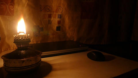 Kerosene Lamp And A Computer - Switch stock footage