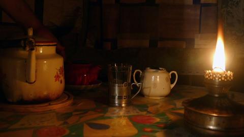 Kerosene lamp and tea kettle Footage