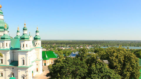 Troitskyi monastery from the height of the bird's flight in Chernihiv Footage