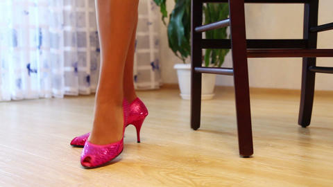 Close-up Of Legs Of The Girl And Her High-Heeled Shoes Footage