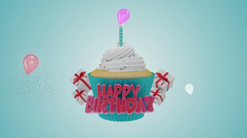 Happy Birthday Cup Cake Footage